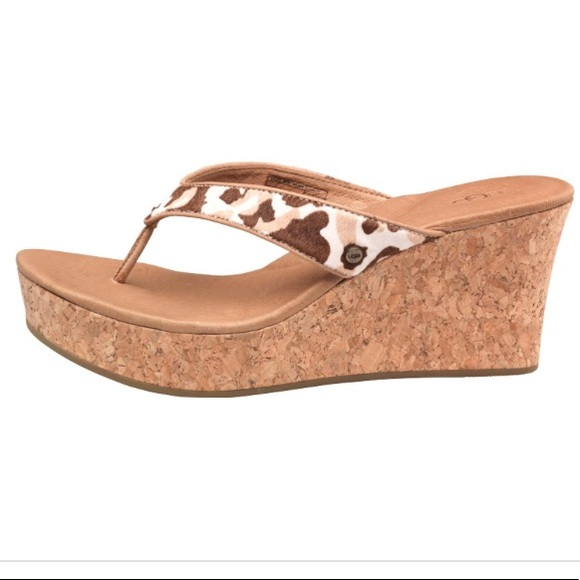 89662bd6ebf0 UGG Natassia Calf Hair Cork Wedge Sandals. M_5b81c02f0e3b86515998a9e3